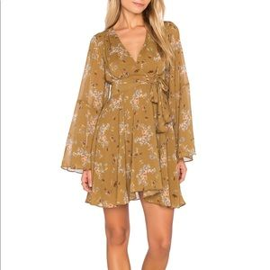 Free People • Mustard Floral Bell Sleeve Dress
